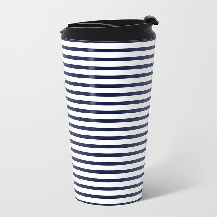 Indigo Navy Blue Nautical Stripes Metal Travel Mug