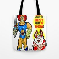 thundercats Tote Bags featuring SNARF!  The greatest of ALL The Thundercats...  Way cooler than Lion-O! by beetoons