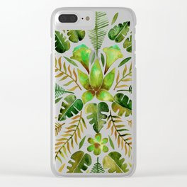 Tropical Symmetry – Olive Green Clear iPhone Case