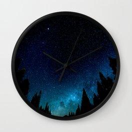 Black Trees Turquoise Milky Way Stars Wall Clock