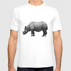Bored Rhino White Mens Fitted Tee SMALL