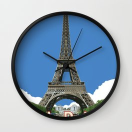 Paris Travel Poster - Vintage Style Wall Clock