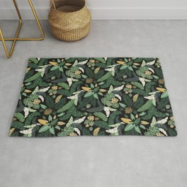tropical lush garden leaf bed seamless vector pattern Rug