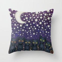 black cats, stars, & moon Throw Pillow