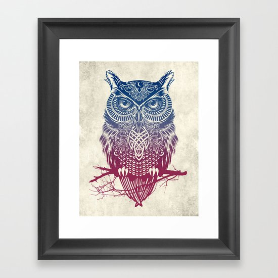 Evening Warrior Owl Framed Art Print