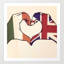 One Direction Inspired UK/Irish Love Heart Art Print