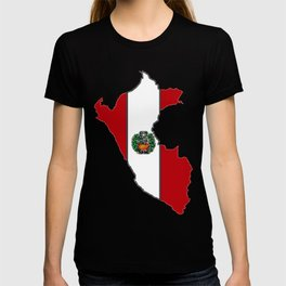 Peru map with Peruvian Flag T-shirt
