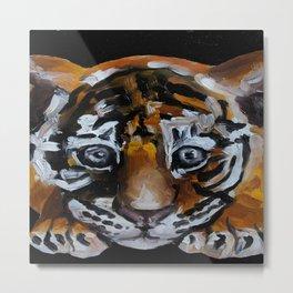 Little tiger, animal, original oil painting, art Metal Print