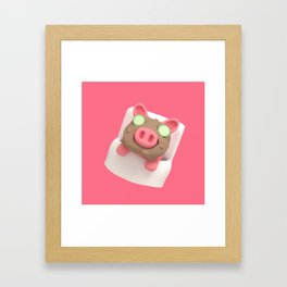 Rosa the Pig does Mud Bath Framed Art Print