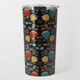 Vintage Ethno Flowers in red, blue, yellow on black Travel Mug