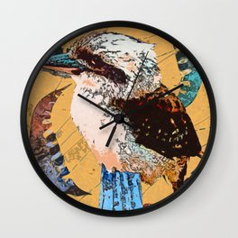 """Koo Koo for..."" ~ Kookaburra & Eucalyptus Leaf Pop Art Photography!  Wall Clock"