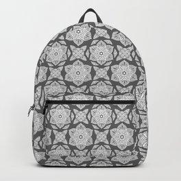 Floral Lotus Mandala Grey Backpack