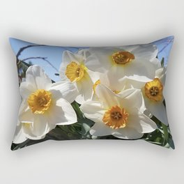 Sunny Faces of Spring - Gold and White Narcissus Flowers Rectangular Pillow