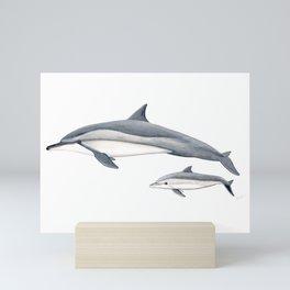 Long-beaked dolphin and baby Mini Art Print