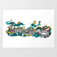 melbourne Art Prints featuring Melbourne by Alina Balan