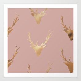 Gold Foil Deer, Wall Tapestry, Art-Prints, Deer Art Prints, Nature Art Print