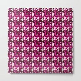 Pink Stylized Floral Metal Print