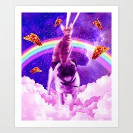 Cosmic Cat Riding Unicorn Pug Art Print