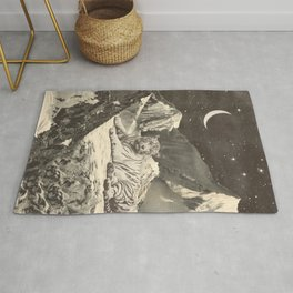 Giant White Tiger in Mountains Rug