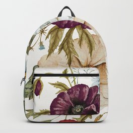 Colorful Wildflower Bouquet on White Backpack