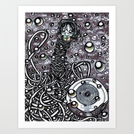 Drowning to the beat of a melody Art Print