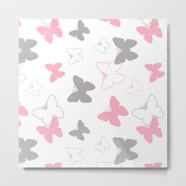 Pink Gray Butterfly Metal Print