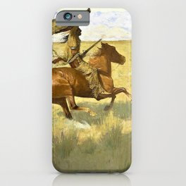 Frederic Remington - Change of Ownership-The Stampede, Horse Thieves - Digital Remastered Edition iPhone Case
