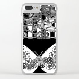 BLACK & WHITE CLOCKWORK BUTTERFLY ABSTRACT ART Clear iPhone Case