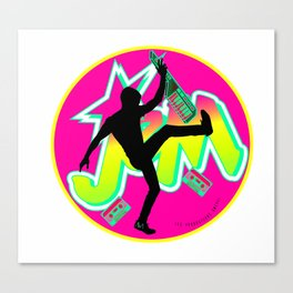 Be a Star with Neon Pink & Yellow Girly JEM   Rock On 80s Synth style Canvas Print