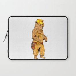 Construction Worker Grizzly Bear Laptop Sleeve