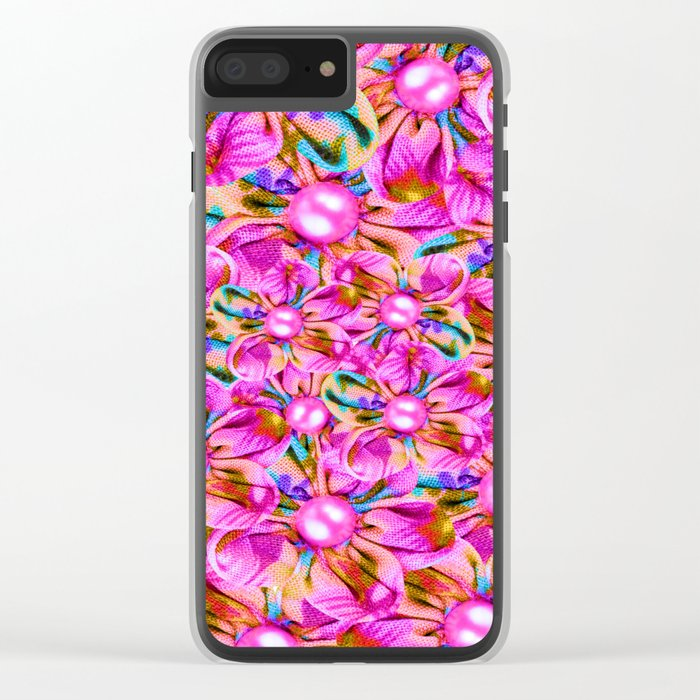 Abstract sewn pink flowers Clear iPhone Case