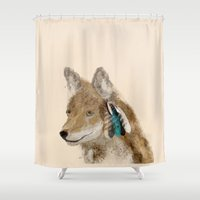 coyote Shower Curtains featuring Coyote by bri.buckley