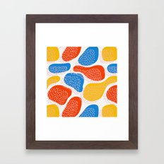 Abstract Orange, Blue and Yellow Memphis Inspired Pattern Framed Art Print