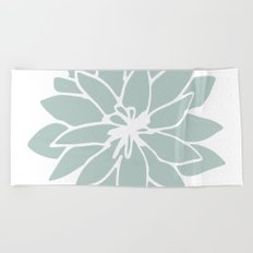Flower Forest Fern Green on White Beach Towel