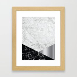 White Marble - Black Granite & Silver #230 Framed Art Print