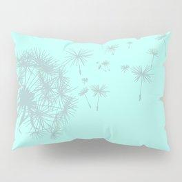 Soft Mint Green and Gray Dandelion Pillow Sham