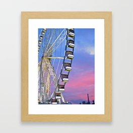 Ferris wheel at sunset Framed Art Print