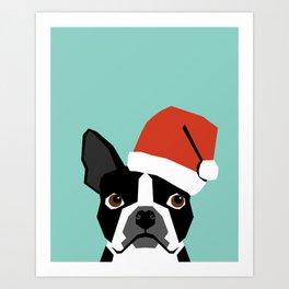 Xmas Boston Terrier Santa Hat funny dog gift for dog lover terrier owner boston terrier cute puppy  Art Print