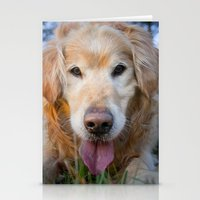 golden retriever Stationery Cards featuring Golden Retriever by eudaldrs