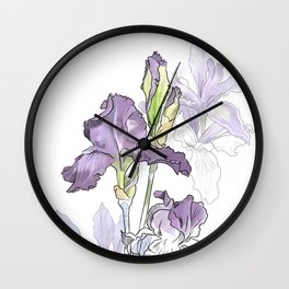 Iris - Flower botanical illustration Wall Clock