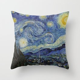 The Starry Night by Vincent van Gogh 1889 // Abstract Brush Stroke Detail Mountains Stars City Scene Throw Pillow
