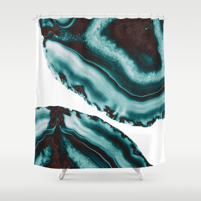 Turquoise Brown Agate #1 #gem #decor #art #society6 Shower Curtain