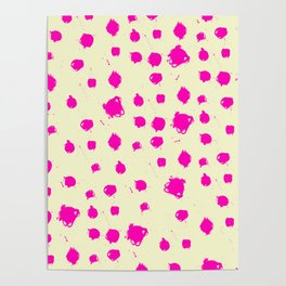 Hot Pink Spots on Yellow Poster