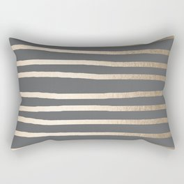 Simply Drawn Stripes White Gold Sands on Storm Gray Rectangular Pillow