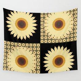 Sunflower Fields Black Pattern Wall Tapestry