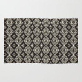 Monochrome Modern Aztec Diamond Mosaic and Waves Rug