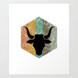 Bull Retro Vintage Bull Head for Rodeo Fans Bull Lovers Gifts Art Print