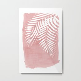 Pink Paint Stroke of Palm Leaves Metal Print