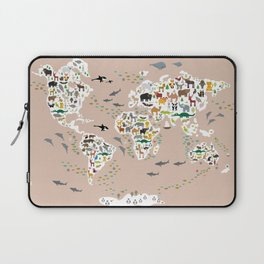 Cartoon animal world map, back to schhool. Animals from all over the world rosybrown background Laptop Sleeve