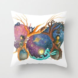 Heart Painting of Girl and Boy on Different Planets And the Galaxy Between Their Trees Throw Pillow